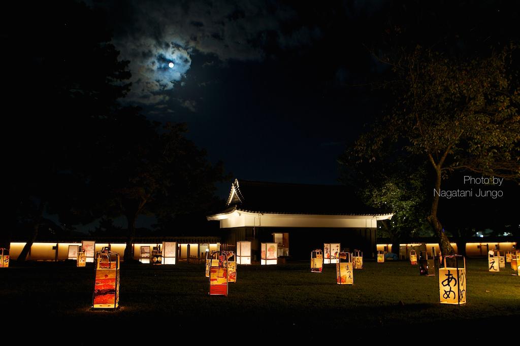 満月と水燈路の行燈  2