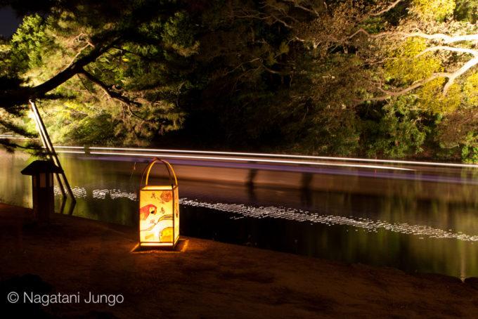 松江水燈路の行燈と光の軌跡