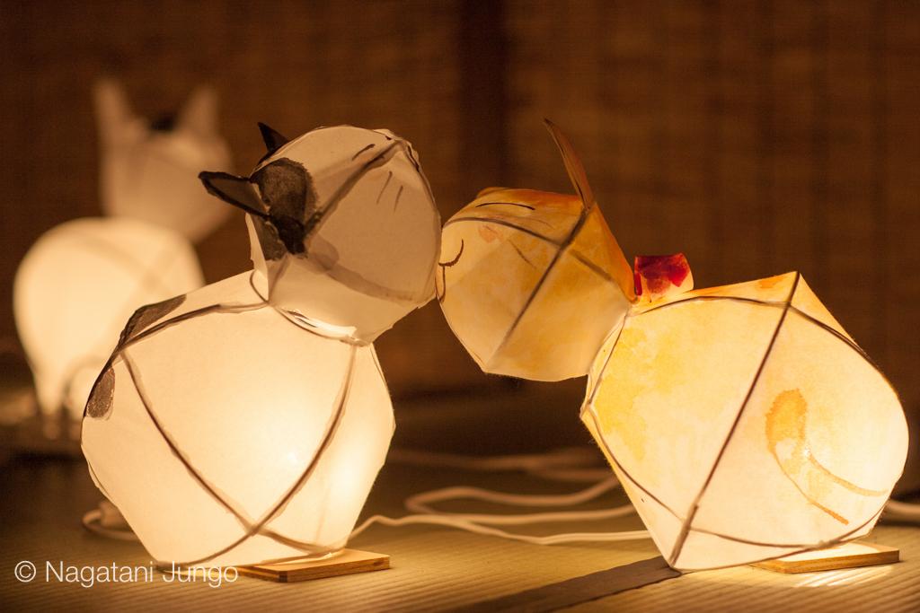 川床の猫形ねぶた行灯(松江水燈路2015)
