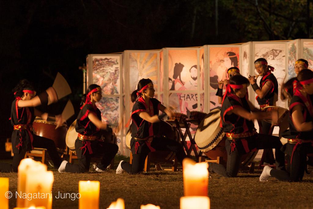 松江水燈路2015 尼子太鼓の演奏