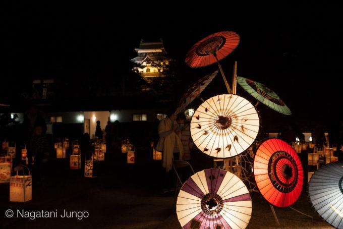 和傘ライトアップ(和傘工房初音) 松江水燈路2015