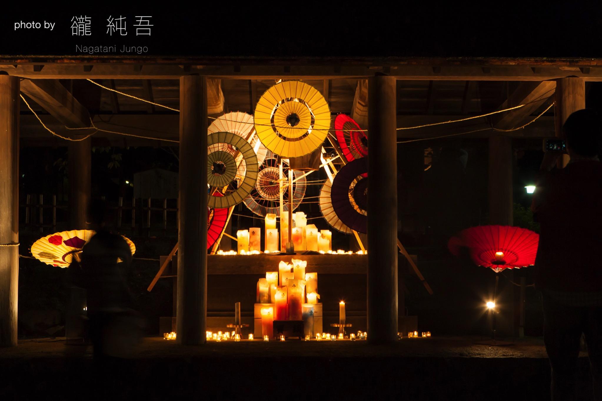 キャンドルと和傘の展示~松江水燈路2017